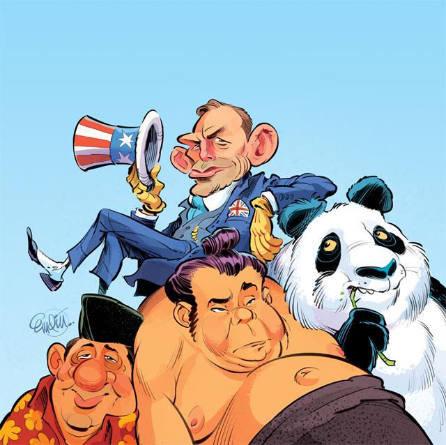 'Abbott in Asia' cover art for The Spectator Australia -- Illustration © Anton Emdin 2013.  All rights reserved.