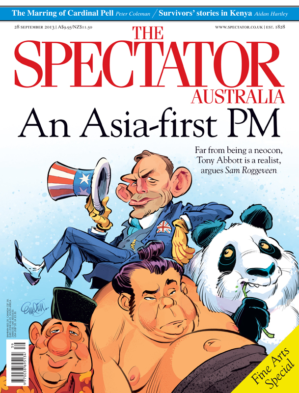 'Abbott in Asia' cover art for The Spectator Australia -- Illustration © Anton Emdin 2013.  All rights reserved.