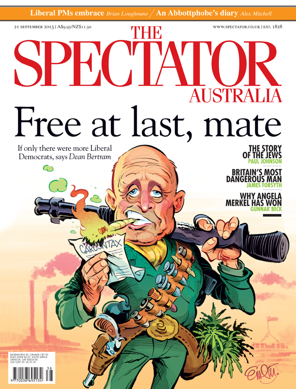 Lib Dem David Leyonhjelm cover art for The Spectator Australia Illustration © Anton Emdin 2013.  All rights reserved.
