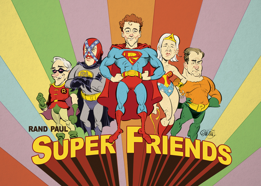 'Super Friends' artwork for The Washington Free Beacon featuring Rand Paul, Ron Paul, The Southern Avenger, Julian Assange and Pat Buchanan Illustration © Anton Emdin 2013.  All rights reserved.
