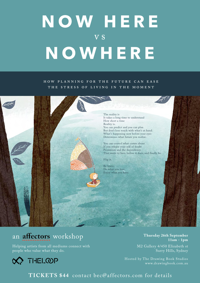 Now Here Vs Nowhere seminar details / Drawing Book Studios / Affectors