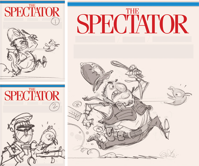 'Copper Twit' cover art (sketches) for The Spectator (UK).  Illustration © Anton Emdin 2013.  All rights reserved.