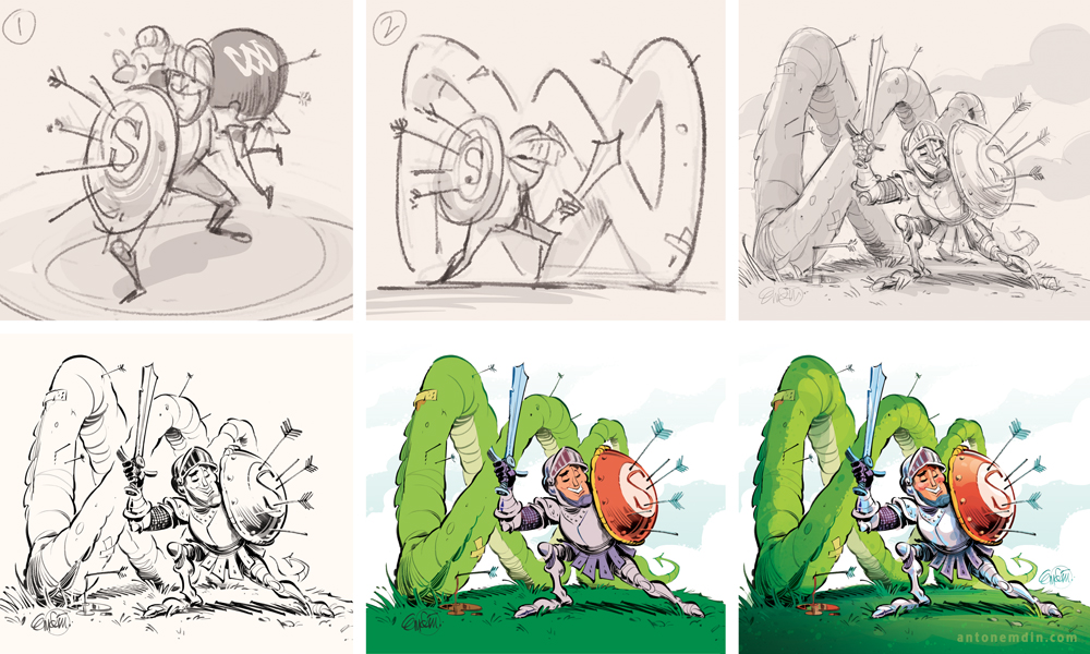'Defending the ABC' (process) for The Spectator Australia. Illustration © Anton Emdin 2013. All rights reserved.