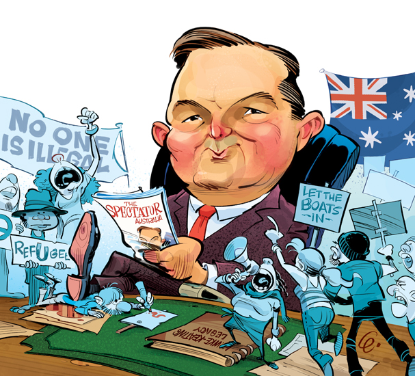Chris Bowen Illustration for The Spectator Australia © Anton Emdin 2013.  All rights reserved.