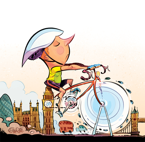 London Cyclists Illustration for The Spectator © Anton Emdin 2013.  All rights reserved.