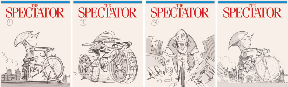 London Cyclists (sketches) Illustration for The Spectator © Anton Emdin 2013.  All rights reserved.