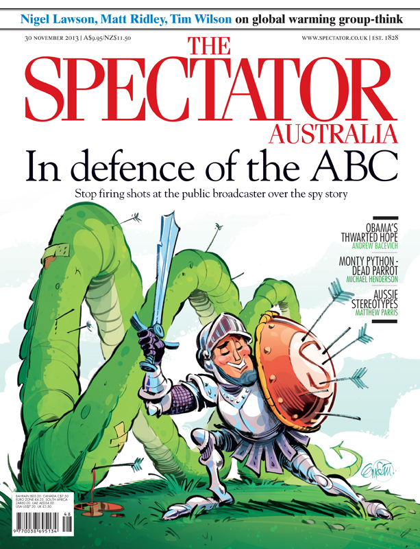 'Defending the ABC' for The Spectator Australia.  Illustration © Anton Emdin 2013.  All rights reserved.