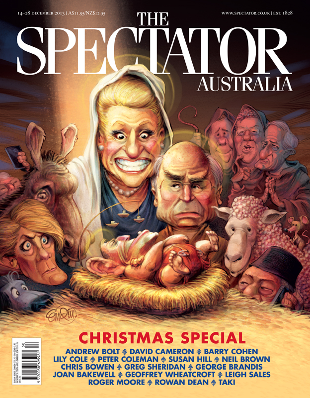 Cover art for the Spectator Australia Christmas Issue 2013 -- Illustration © Anton Emdin 2013.  All rights reserved.