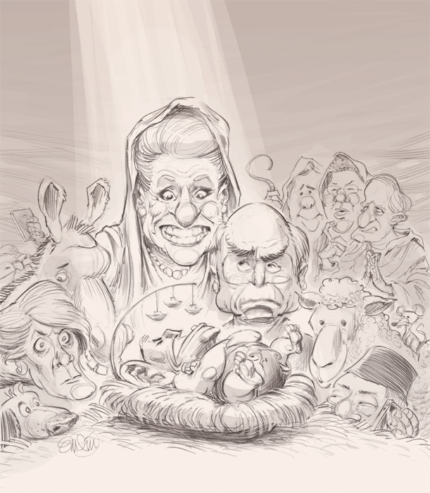 Cover art (sketch) for the Spectator Australia Christmas Issue 2013 -- Illustration © Anton Emdin 2013. All rights reserved.