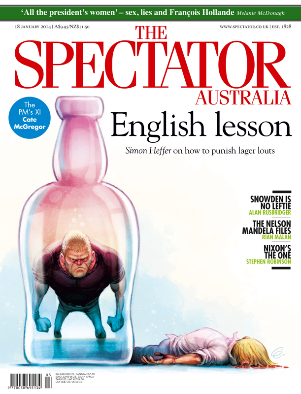 "Cover art for The Spectator Australia on inner city violence and the ""king hit"" (or ""coward hit"") culture on Sydney's streets -- Illustration © Anton Emdin 2014.  All rights reserved."