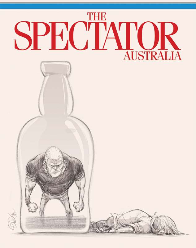 "Cover art (sketch) for The Spectator Australia on inner city violence and the ""king hit"" (or ""coward hit"") culture on Sydney's streets -- Illustration © Anton Emdin 2014.  All rights reserved."
