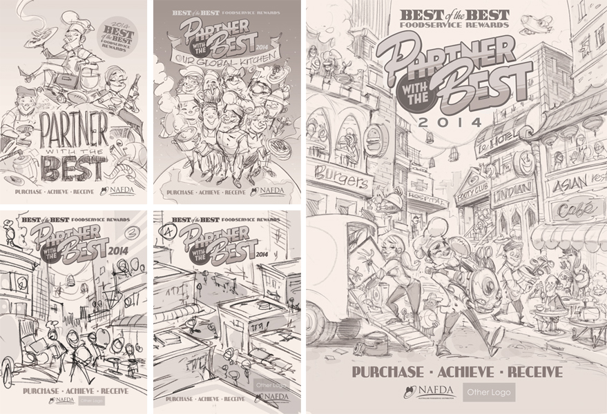 Cover illustration (sketches) for NAFDA featuring a head chef, waitress, and kitchenhand in a busy street.  Illustration © Anton Emdin 2014.