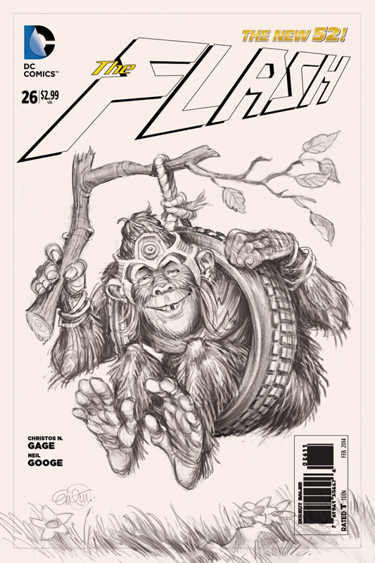 Sketch: Flash / Gorilla Grodd cover art for the MAD variant specials 2014.  Art by Anton Emdin, art direction by Sam Viviano.