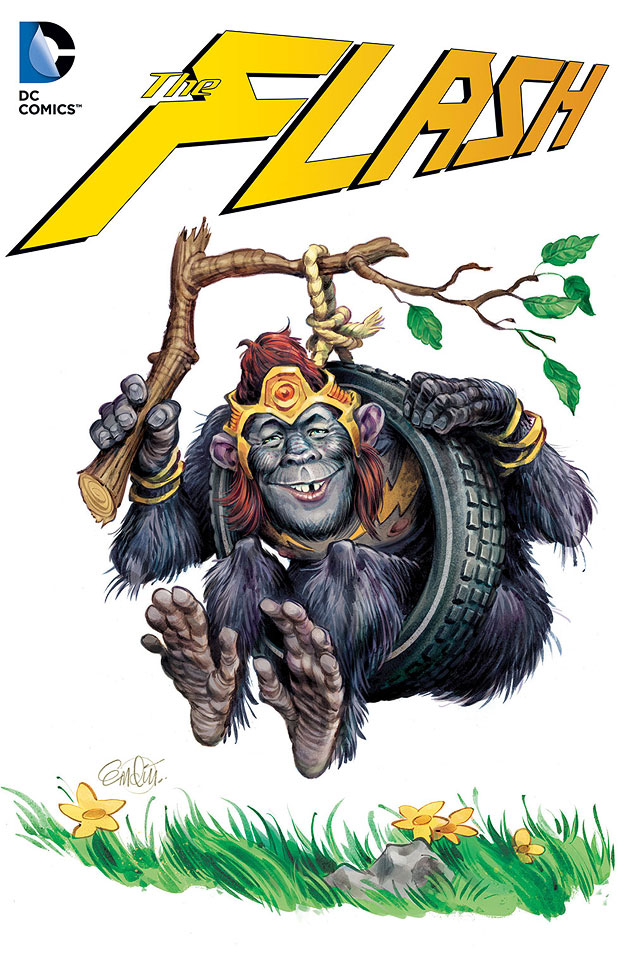 Flash / Gorilla Grodd cover art for the MAD variant specials 2014.  Art by Anton Emdin, art direction by Sam Viviano.