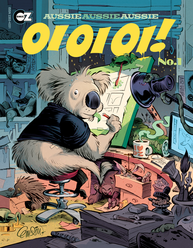 OI OI OI! No.1 cover (by Anton Emdin, published by ComicOz)