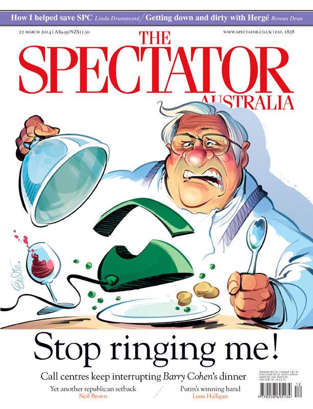 'Call Centres' cover art for The Spectator Australia.  Illustration © Anton Emdin 2014.  All rights reserved.