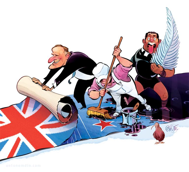 Cover art for The Spectator Australia on NZ Prime Minister John Key's push to rebrand the New Zealand flag -- Illustration © Anton Emdin 2014.  All rights reserved.