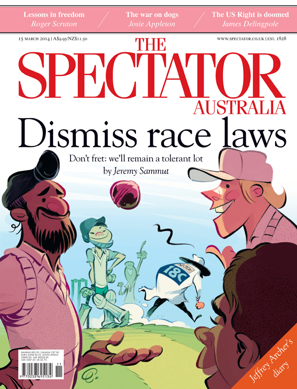 'Section 18C Dismissed' cover art for The Spectator Australia.  Illustration © Anton Emdin 2014.  All rights reserved.