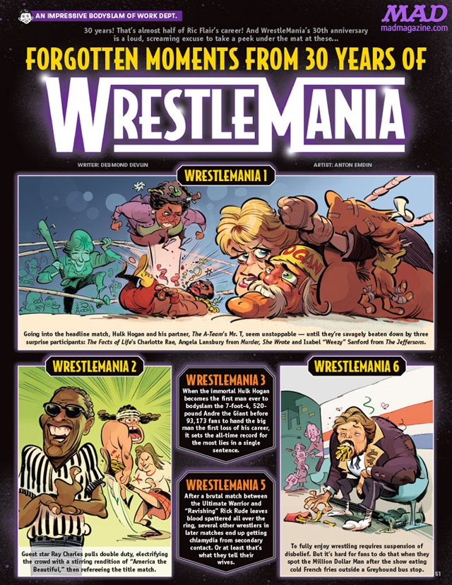 MAD #527 Wrestlemania preview / written by Desmond Devlin and illustrated by Anton Emdin.