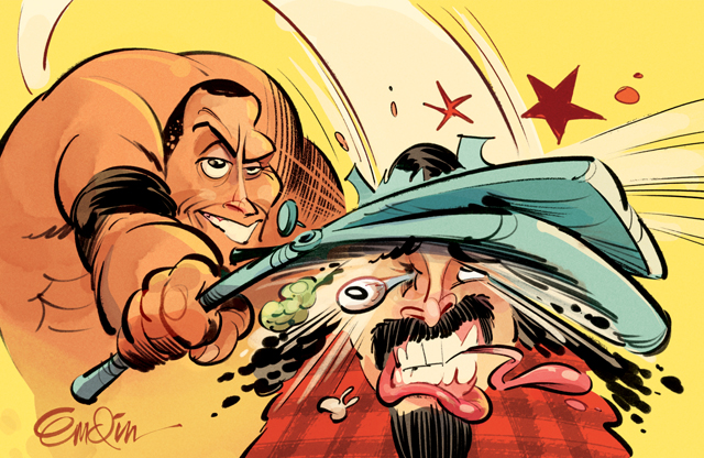 The Rock smashes Mick Foley! Wrestlemania art for MAD #527