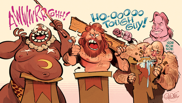 Tough Guys!  Wrestlemania art for MAD #527