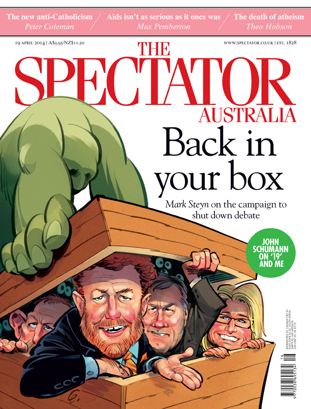 Cover art for The Spectator on the shut down of Free Speech, featuring Mark Steyn, Janet Albrechtson, Andrew Bolt and Tony Abbott -- Illustration © Anton Emdin 2014.  All rights reserved.