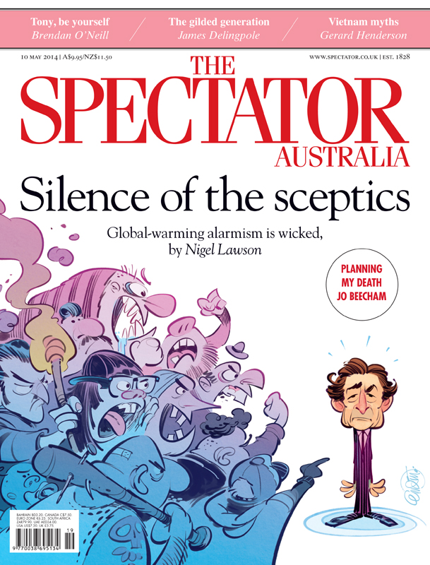 Cover art for The Spectator Australia on Nigel Lawson's experience with climate change alarmists -- Illustration © Anton Emdin 2014.  All rights reserved.