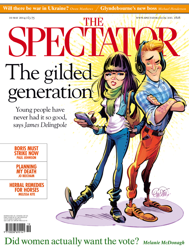 Cover art for The Spectator UK on 'The Gilded Generation' -- Illustration © Anton Emdin 2014.  All rights reserved.