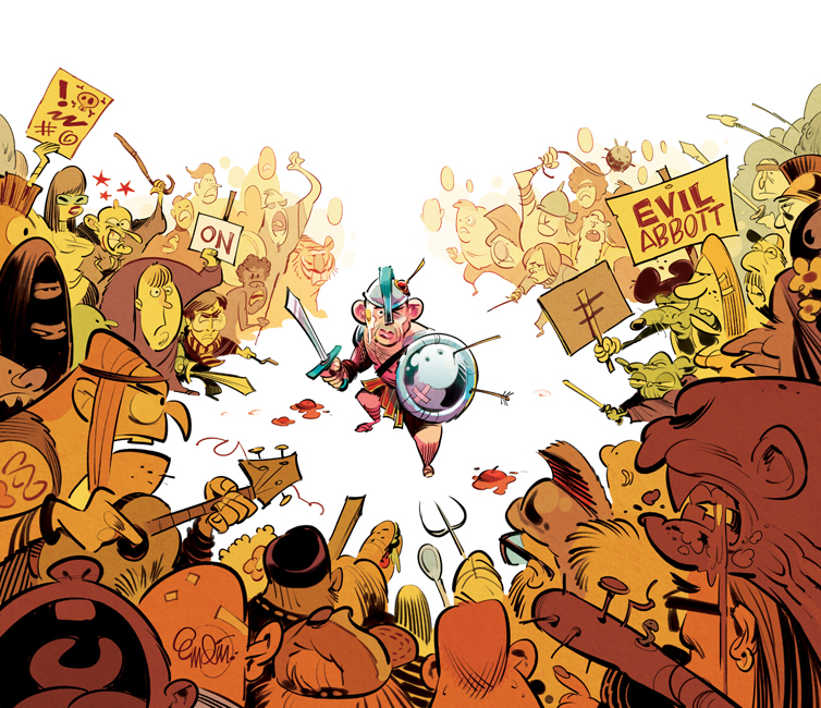 Cover art for The Spectator Australia: Abbott fighting off the unhappy mob -- Illustration © Anton Emdin 2014.  All rights reserved.