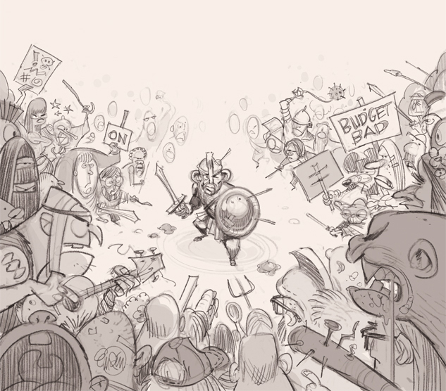 Cover (sketch) art for The Spectator Australia: Abbott fighting off the unhappy mob -- Illustration © Anton Emdin 2014.  All rights reserved.