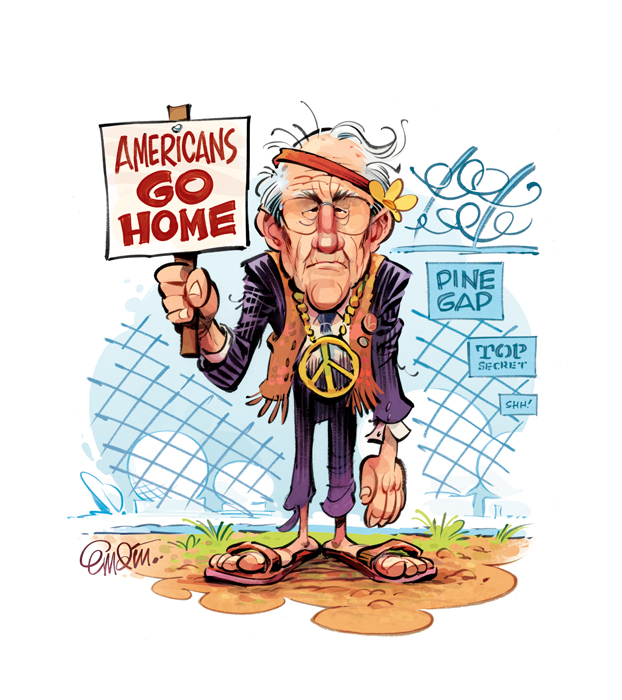 Illustration for The Spectator Australia: review of the new Malcolm Fraser book on why Australia should end the US alliance. © Copyright Anton Emdin 2014.  All Rights Reserved.  Please do not reproduce without express written permission.