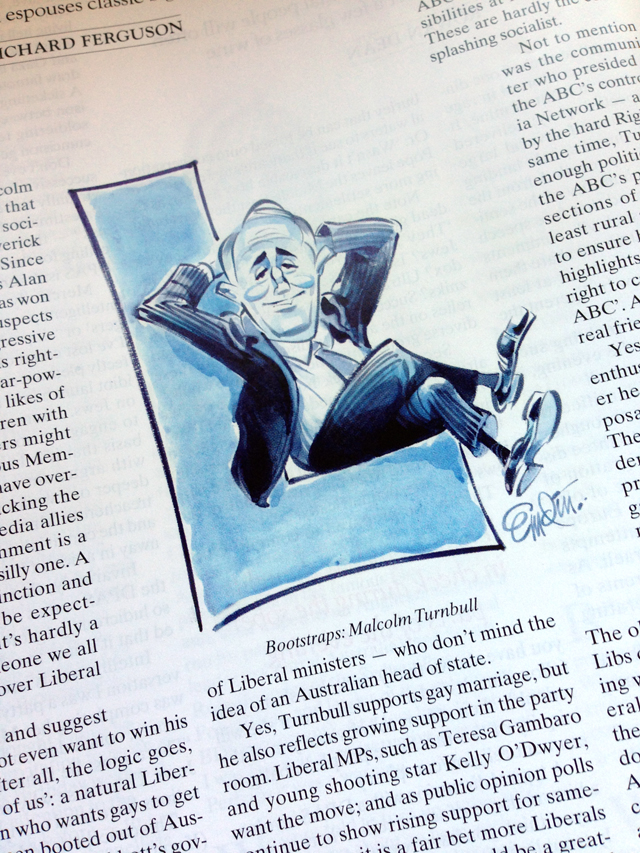 Illustration for The Spectator Australia: Malcolm Turnbull is a 'Big L' Liberal -- Illustration © Anton Emdin 2014.  All rights reserved.