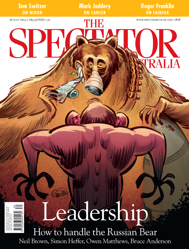 Cover art for The Spectator Australia: Tony Abbott Vs Russia / Putin after the shooting down of passenger aircraft MH370 -- Illustration © Anton Emdin 2014.  All rights reserved.