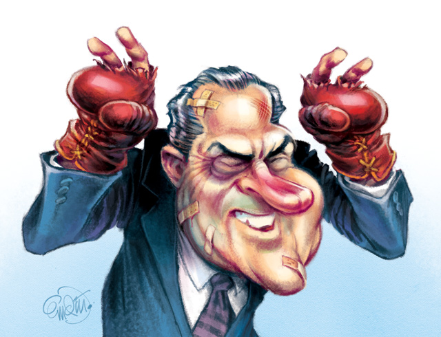 "Cover art for The Spectator Australia: Richard Nixon ""rising from defeat"", book review by Tom Switzer -- Illustration © Anton Emdin 2014.  All rights reserved."