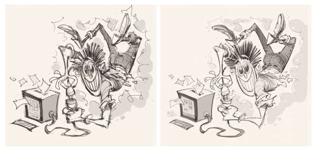 'Plugged Election' cover art sketches by Anton Emdin.  Illustration © Anton Emdin 2015.  All rights reserved.