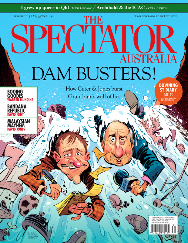Spectator cover art: Alan Jones and Nick Cater on the Grantham floods inquiry. Illustration © Anton Emdin 2015. All rights reserved.