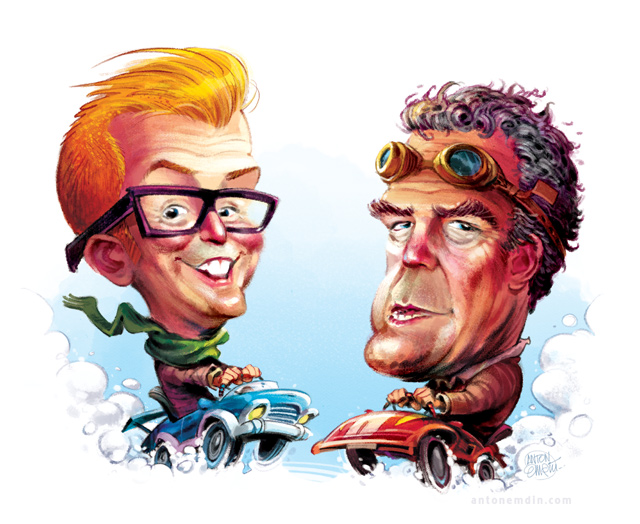'Car Wars' Illustration for Business Reporter / Lyonsdown: Jeremy Clarkson and Chris Evans go head to head -- drawn by and © Copyright Anton Emdin 2015.  All Rights Reserved.  Please do not reproduce without express written permission.