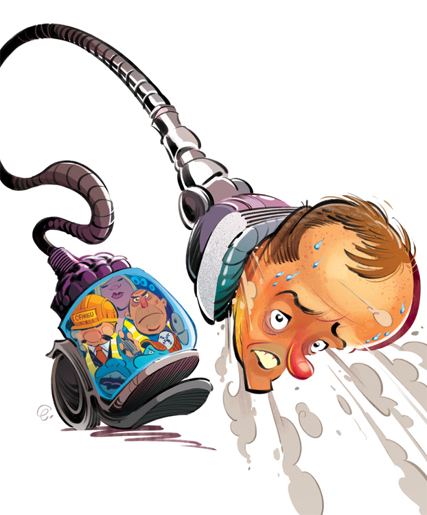 Cover art for The Spectator Australia: Bill Shorten (and union thugs) gets sucked up by Dyson-- Illustration © Anton Emdin 2015.  All rights reserved.
