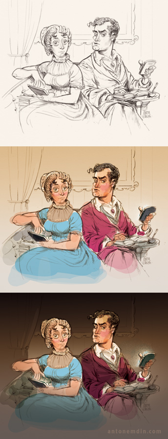 sketches: Jane Austen and Lord Byron on banking with smartphones.  Illustration by and © Copyright Anton Emdin 2015.  All Rights Reserved.  Please do not reproduce without express written permission.