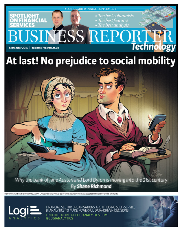 Jane Austen and Lord Byron on banking with smartphones.  Illustration by and © Copyright Anton Emdin 2015.  All Rights Reserved.  Please do not reproduce without express written permission.