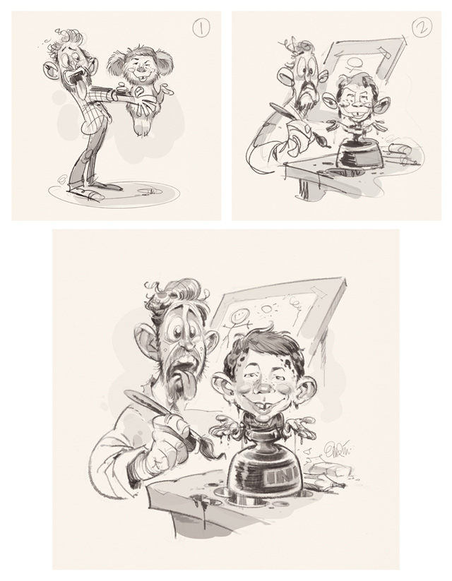 Private commission: MAD Magazine's Alfred E. Neuman and Anton Emdin. Illustration by and © Copyright Anton Emdin 2015. All Rights Reserved. Please do not reproduce without express written permission.
