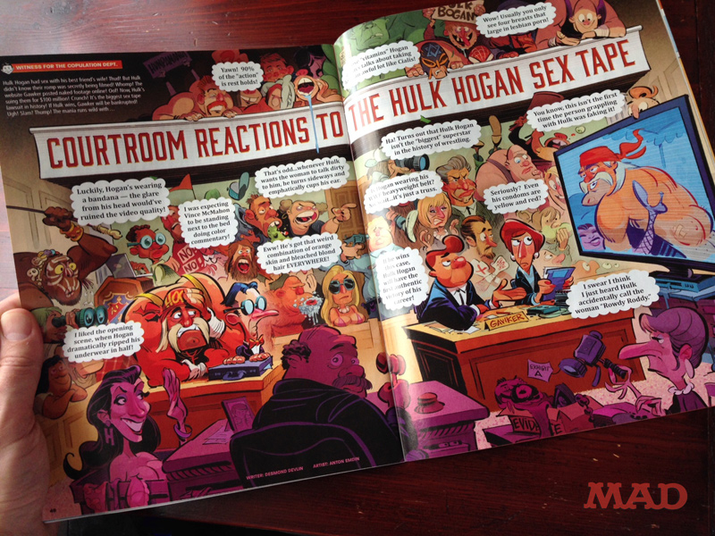 Courtroom Reactions to the Hulk Hogan Sex Tape -- for MAD Magazine / E.C. Publications -- illustration by Anton Emdin
