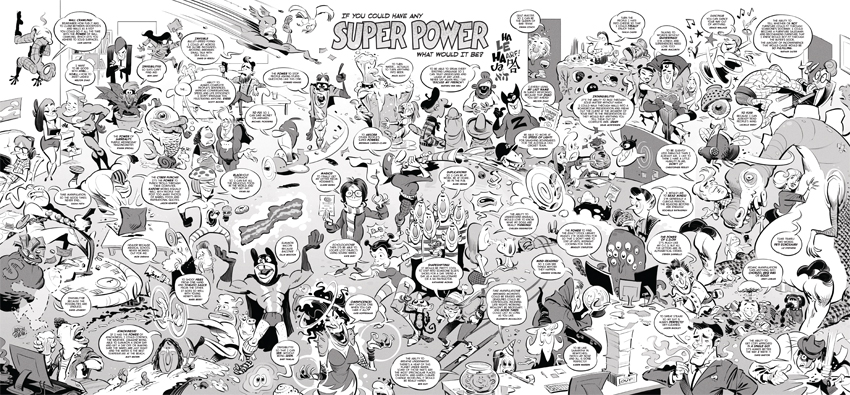 'Superheroes' Wall Art for GPY&R Sydney, illustration © Anton Emdin 2015