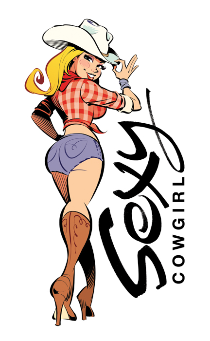 'Sexy Cowgirl' Illustration and logo design by Anton Emdin 2014 - http://www.antonemdin.com/
