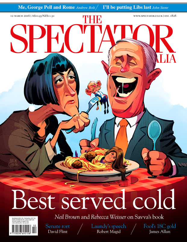 Cover art for The Spectator Australia -- Illustration © Anton Emdin 2016. All rights reserved.