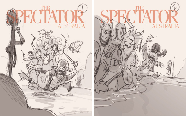 Invasion! (Thumbnail Sketches). Cover art for The Spectator -- Illustration © Anton Emdin 2016. All rights reserved.