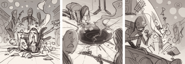 Thumbnail Roughs -- very quick compositional 'scamps' to communicate the idea