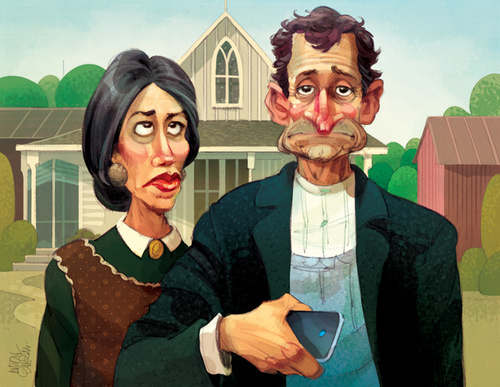 Heres Another Fun Quick Turnaround For The Washington Free Beacon Anthony Weiner And Huma Abedin In A Parody Of Grant Woods American Gothic
