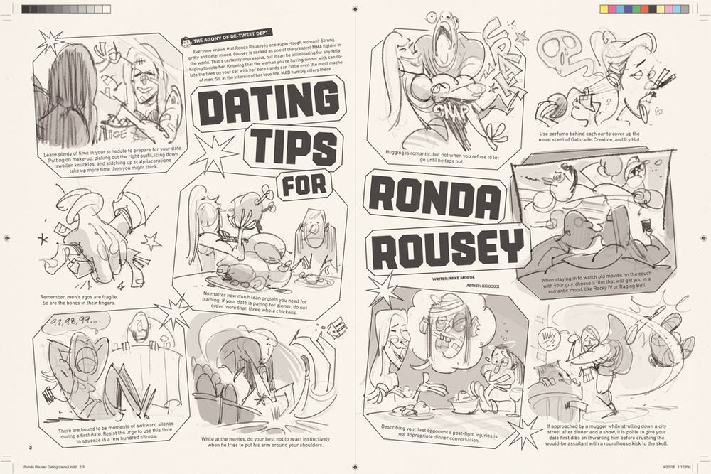 'Dating Tips for Ronda Rousey' from MAD #540 (thumbnail roughs)