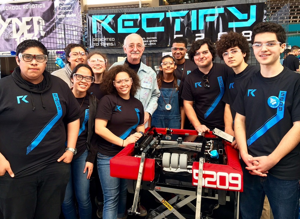 Team Rectify in their Pit at the 2016 San Diego Regional with FIRST Co-Founder Woodie Flowers